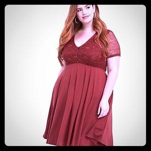 Torrid Brick Red Jersey & Lace Yoke Skater Dress
